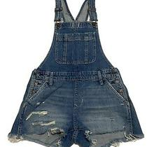 New With Tag Womens Abercrombie & Fitch Ripped Denim Shorts Overalls Size Xs Photo