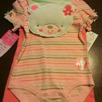 New With Tags 3pc Baby Set-Onesize Pants and Bib by Bon Bebe 6-9mo Photo