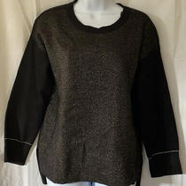 New With Tags Anne Klein Hi-Lo Sweater Gold Metallic Size Small Photo