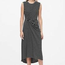 New With Tags Banana Republic Black Stripe  Dress M Twist Front Photo