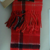 New With Tags Barbour Merino Wool & Cashmere Cardinal Red Tartan Plaid Scarf Photo