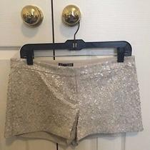 New With Tags Express Off White Ivory Sequined Shorts Size 6 Photo