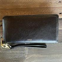 New With Tags Fossil Logan Rfid Zip Around Clutch Wallet in Black Photo