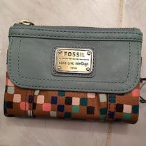 New With Tags Fossil Womens Emory Leather Clutch Wallet- Sea Glass  Photo