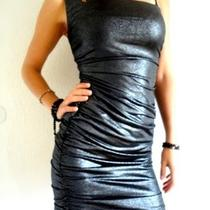 New With Tags Guess One Shoulder Black Silver Party Evening Women Dress Size L Photo