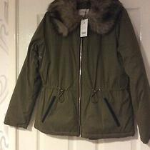 New With Tags Khaki Green Parker Coat Fur Collar Size 10 Photo