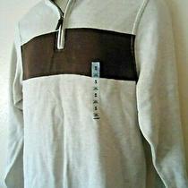New With Tags Men's Old Navy 1/4 Zip Sweater 100% Cotton Beige Size S Photo