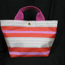 New With Tags Nwt Fossil Keyper Small Pink Orange Striped Tote Bag  Photo