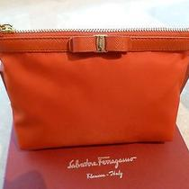 New With Tags Salvatore Ferragamo Cosmetic Case Dark Orange Vara Bow Photo