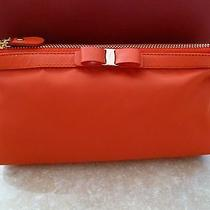 New With Tags Salvatore Ferragamo Cosmetic Case Lava Orange Vara Bow Photo
