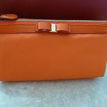 New With Tags Salvatore Ferragamo Cosmetic Case Sunset Orange Vara Bow Photo