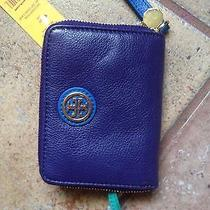 New With Tags Tory Burch Clay Zip Wallet Coin Case Admiral Blue Multi/416 115 Photo