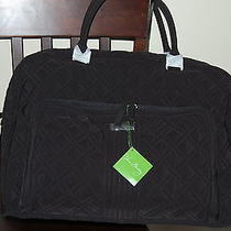 New With Tags  Vera Bradley Classic Black Microfiber Weekender Trolley Sleeve Photo