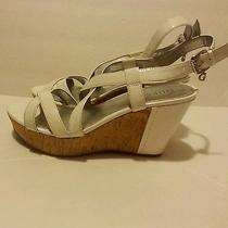 New Without Box. Guess White Wedge Sandals Photo