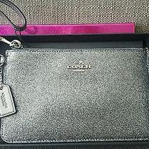 New Without Tags Coach Small Glitter Wristlet Gunmetal Silver With Gift Box Photo