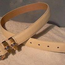 New Without Tags Vintage 1996 Brighton Ladies Ivory Leather Belt Goldtone Buckle Photo