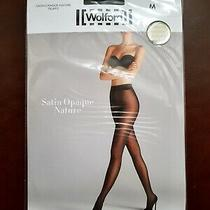 New Wolford Satin Opaque Nature Tights Size M Black Photo