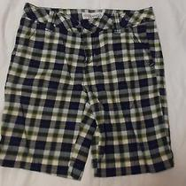 New Woman's Juniors Sz 5/6 Aeropostale Navy Greens & White Plaid Bermuda Shorts Photo
