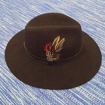 New Womans Barbour Black Wool Felt Fedora Hat W/ Feather - Xl Photo