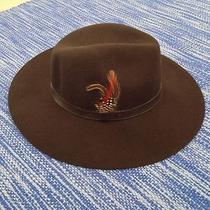New Womans Barbour Brown Wool Felt Fedora Hat W/ Feather - L Photo