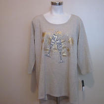 New Womans style&co Top Sweater Holiday New Years Champagne Flute Gold Lace 2x  Photo