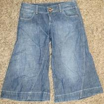 New Women Express X2 Bell Bottom Style Crops Thick Stitch Jean Capris Sz 4 W30 Photo