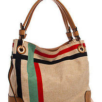 New Women Fashion T-0083 Striped Woven Fabric Tote Bag With Long Strap Handbag Photo