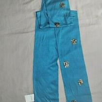 New Women Fossil Silky Rayon Teal Golden Dots Double  New  Scarf  55' X 74''' Photo