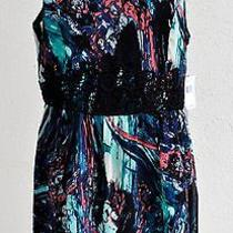 New Women Kensie Sleeveless Printed Dress Lace in Front of Waist Size 14 109 Photo