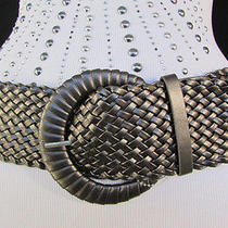 New Women Metallic Gray Braided Fashion Belt Big Round Buckle M / L 30
