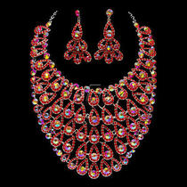 New Women Peacock Element Crystal Rhinestone Earrings Necklace Jewelry Set Photo