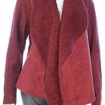 New Women's 1586 Grace Elements Wine Open Faux Fur  Knitted Arms Cardigan Lg Photo