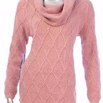 New Women's 431 Jeanne Pierre Rose Blush Cowl Neck Textured Sweater Size Large Photo