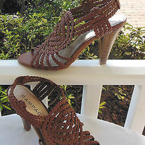 New Women's 8 Rampage Iberia Brown Slingback Woven Vamp Heels Sandals Shoes Photo