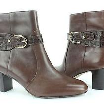 New Women's Anne Klein Gansee Brown Leather Dress Ankle Booties Size 6.5 M  Photo