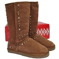 New Women's Authentic style&co Bolted Tan Studded Suede Fashion Boots Size 6 M Photo