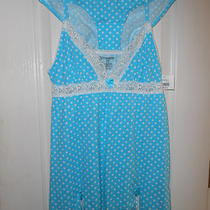 New Women's Babydoll Sleep 2 Piece Set Aqua Dot Chemise Jrs S Small 3/5 New Nwt Photo