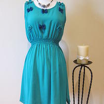 New Womens Chiffon Solid Color Aqua Blue Casual Summer Dress S M Photo