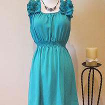 New Womens Chiffon Solid Color Blue Turquoise Casual Summer Dress S M Photo
