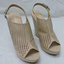 New Women's Chinese Laundry Meet Up Beige Micro Suede Wedge Sandal Shoes Size 11 Photo