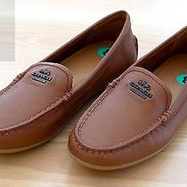 New Women's Coach Mary Lock Up Loafers Flats Tan Leather Shoes Size 8 Saddle Photo