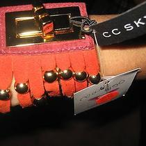 New Womens Designer Cc Skye Red Suede Beaded Turnlock Cuff Bracelet Photo