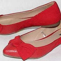 New Women's Express Red Flats Shoes With Bow Size 7 Photo