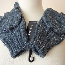 New  Women's Gloves Express Sequin Gray Crochet One Size Mitthens Gloves 29.90 Photo