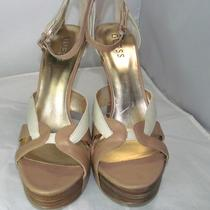 New Women's Guess Edee 2 High Heel Sandals Natural Multi Leather Sz 10 Photo