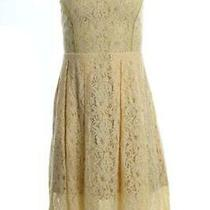 New Women's Guess v-Neck Lace Fit Flare Dress Pastel Yellow Size 0 Photo