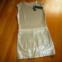 New Women's Halston Heritage Gold Sequin Shift Dress 4 Cocktail Party Nwt Photo