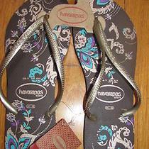 New Women's Havaianas Slim Paradiso Flip Flops/sandals Dark Brown Sz 41-42/usa 9 Photo