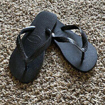 New Women's Havainas Flip Flops Black Size 5 Photo