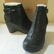 New Women's Jambu Brighton Platform Wedge Boots Black Perforations Sz 9.0 M Photo
